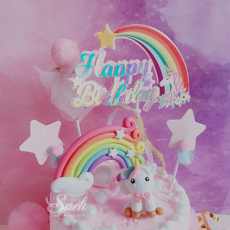 Biling Unicorn Rainbow Star Pom pom Tassel Cake Topper Dessert Decoration for Birthday Party Lovely Gifts-in Cake Decorating Supplies from Home & Garden