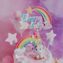 Biling Unicorn Rainbow Star Pom pom Tassel Cake Topper Dessert Decoration for Birthday Party Lovely Gifts