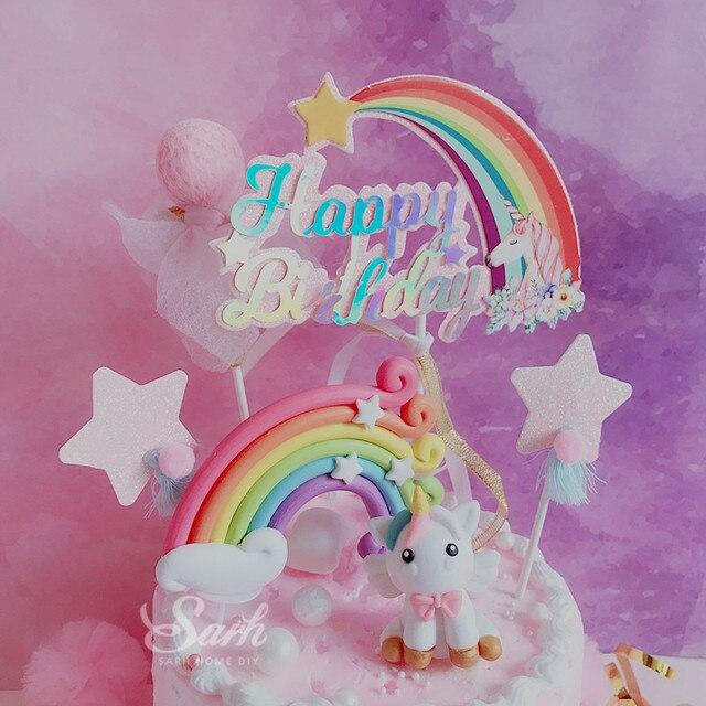 Fatura Unicorn gökkuşağı yıldız Pom Pom püskül kek Topper tatlı dekorasyon doğum günü partisi için güzel hediyeler