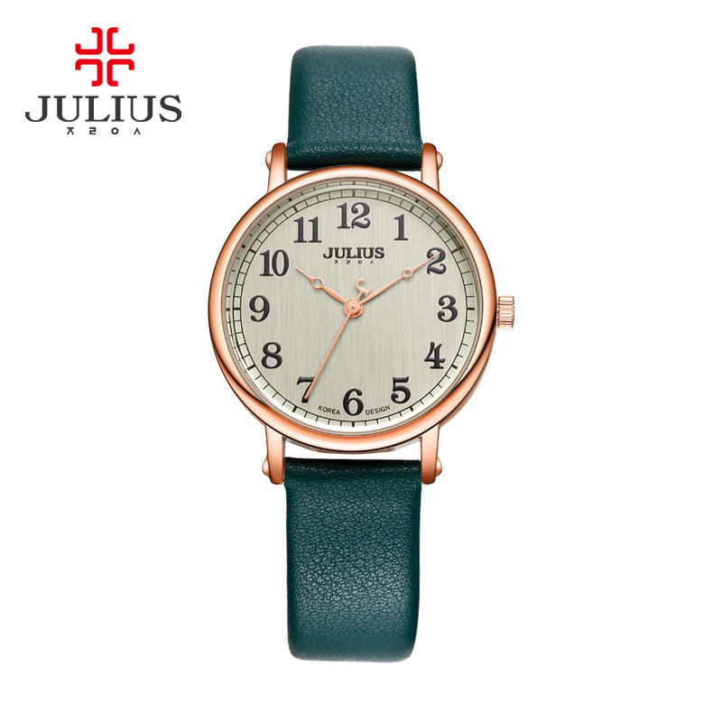 New Lady Women's Watch Japan Quartz Large Number Fine Fashion Hours Dress Bracelet Simple Leather Girl Birthday Gift Julius Box