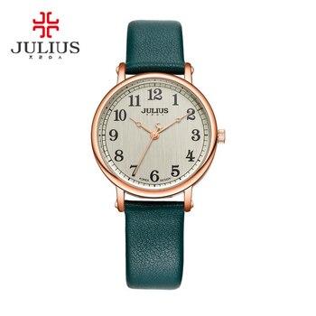 3c0434ce322a Reloj de mujer de nueva señora Japón cuarzo gran número de moda fina horas  vestido pulsera de cuero Simple niña cumpleaños regalo Julius caja