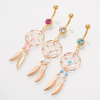 Dream Catcher Leaves Navel Piercing Ombligo Body Jewelry Navel Ring Belly Button Rings Industrial Piercing Nombril Pircing Gift image