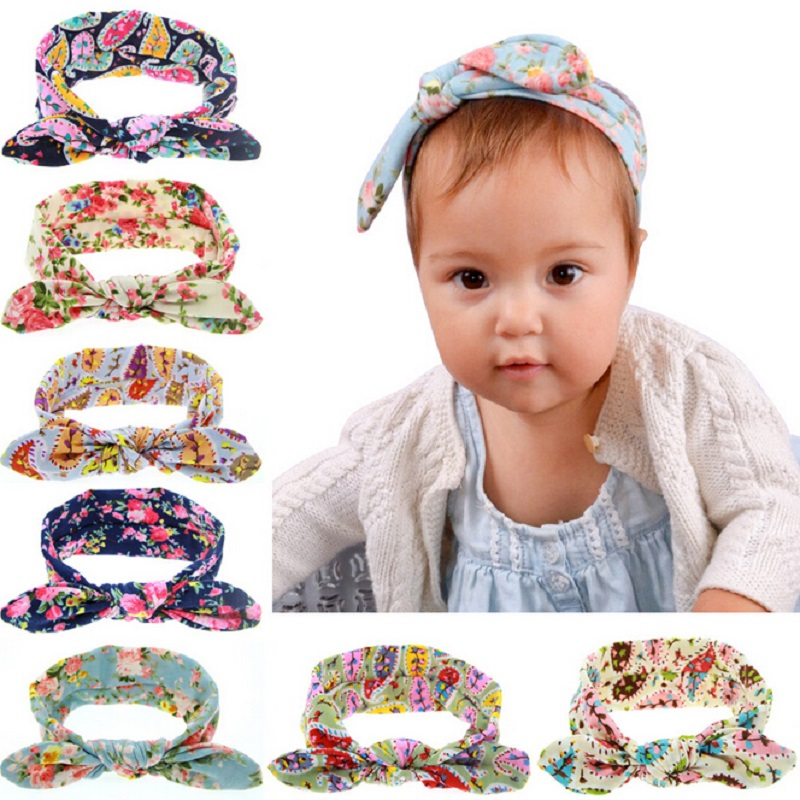 Fashion Baby Infant Girls Flower Print Headbands Children Girls Cute Rabbit Ear Headwraps Baby Bow kont hair Accessories HB021