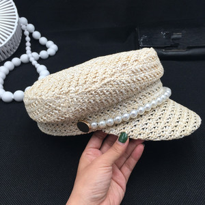 Image 5 - Pearl summer hat female new spring andstraw braided light breathable fashion casual sunscreen sunscreen cap tide