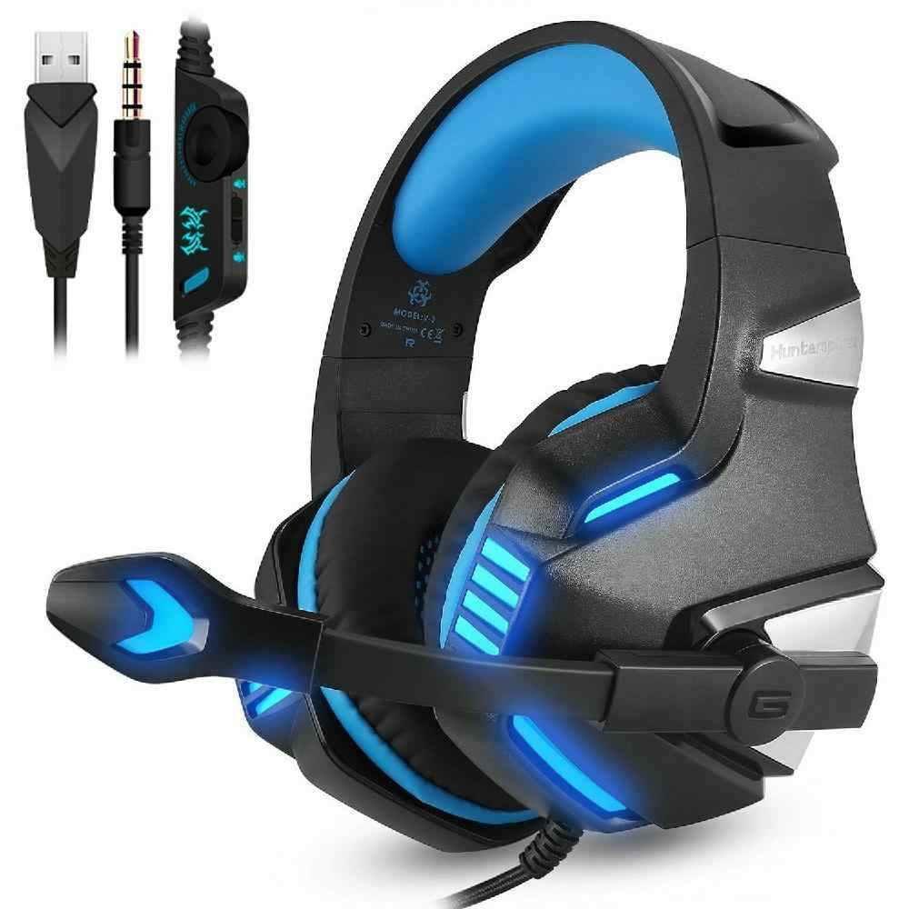 Dsstyles 3.5 Mm Gaming Headset MIC LED Headphone Stereo untuk PC PS4 Slim PRO XBOX ONE X