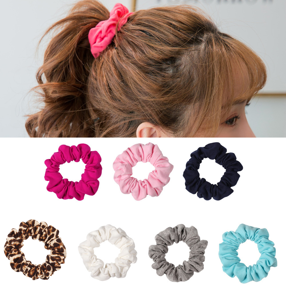 1 PC Hair Scrunchies Large Women's Colorful Cotton  Hair Tiesr Hair Scrunchies Hair Bow Black Leopard Ponytail Holder