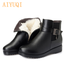 AIYUQI 2019 genuine leather Australia wool bare boots black warm thick female ankle large size mother
