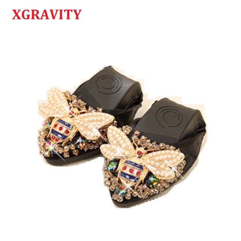 XGRAVITY Bee Designer Crystal Woman Big Size Flat Shoes Elegant Comfortable Lady Fashion Rhinestone Women Soft Girl Shoes A031