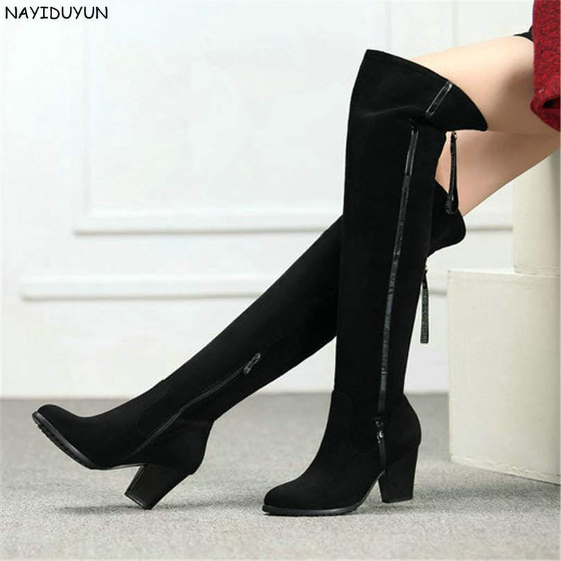 NAYIDUYUN    New Women Black Sheepskin Leather High Heel Knee High Riding Boots Round Toe Over The Knee High Party Pumps Shoes nayiduyun new thigh high shoes women wedge slip on over the knee boots high heel punk sneaker oxfords platform riding greepers