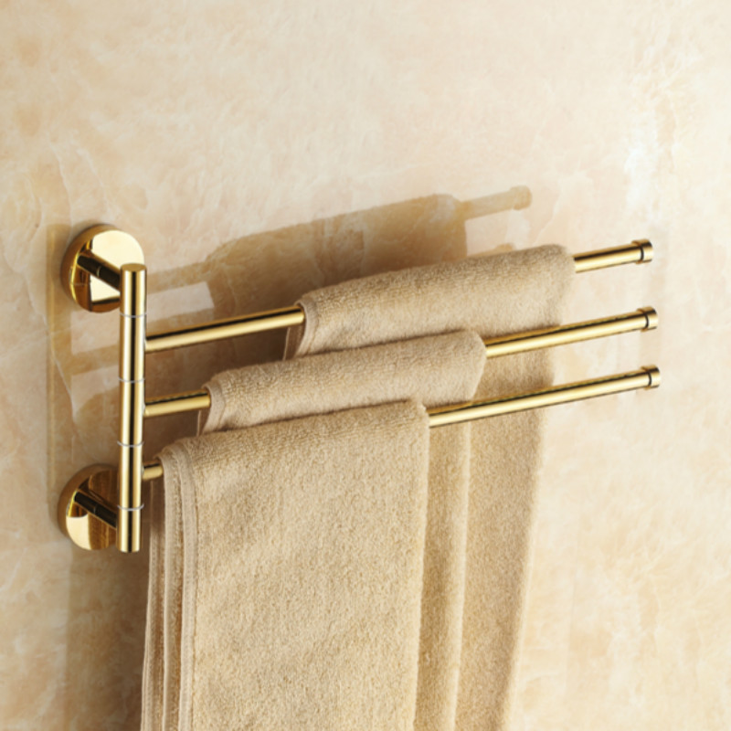 European Style Gold Solid Brass Towel Rack Movbeble Towel Bars 3 Arms Wall Mounted Chrome Finish Towel Bars 180 Degree Towel Bar