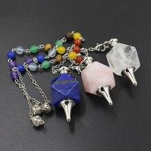 7 Chakra Stone Beads Geometric Pendants Reiki Hypnosis Pendulum Chain Charms Healing Chakra Amulet Fashion Jewelry Retail цены онлайн