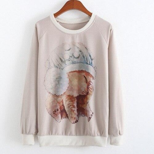 2018 outono inverno estilo mulheres casual camisola do filhote de cachorro  impresso hoodies Casual Solta Harajuku camisolas Pullovers mulheres 45355c0938301