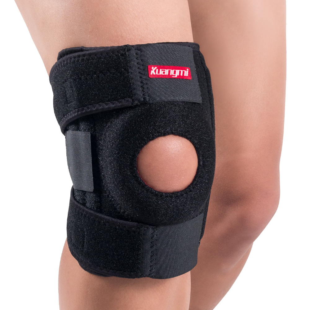 Kuangmi Kniebrace Ondersteuning Sport Kniebeschermers Basketbal Open Patella Band Knie Cap Protector Verstelbare Wraps Bandage Rodilleras