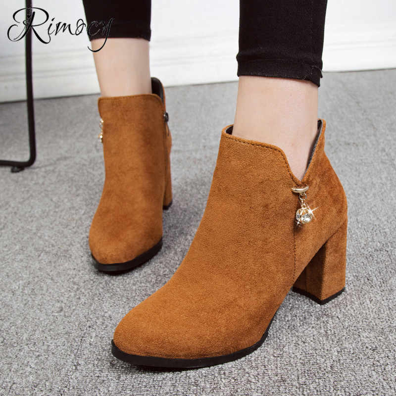 d52e3900c4d RIMOCY side zipper botines mujer 2019 spring nubuck ankle boots for women  round toe square heels