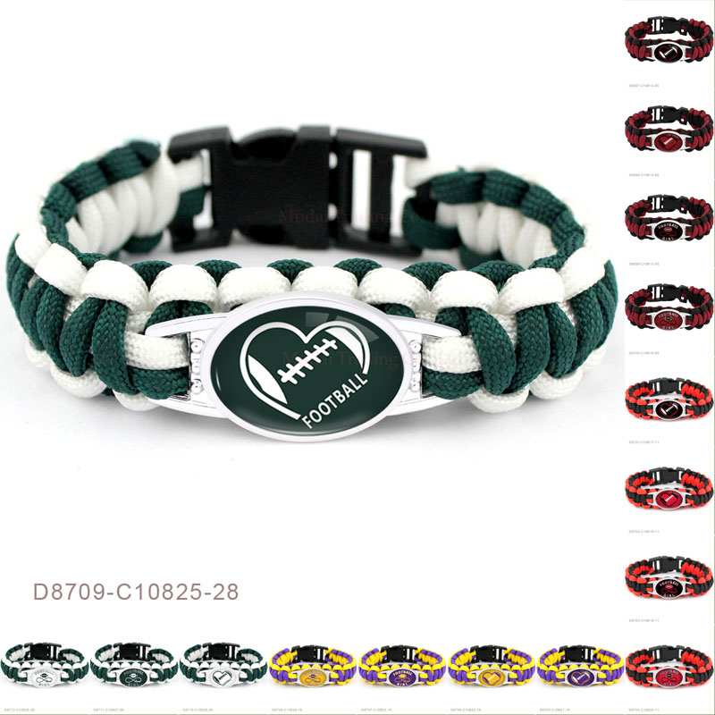 (10 PCS/lot)Football Infinity Girl Heart Charms Paracord Survival Sports Outdoor Red Black Bracelets For Women Men Jewelry