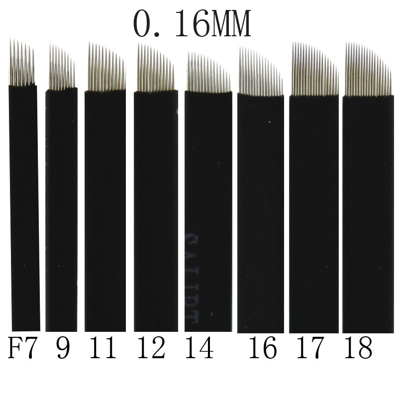 500 Pcs 0.16mm Black Microblading Blade Permanent Makeup Manual Eyebrow Tattoo Needle Bevel 12/14/16/17/18/21 Flex 3D Microblade