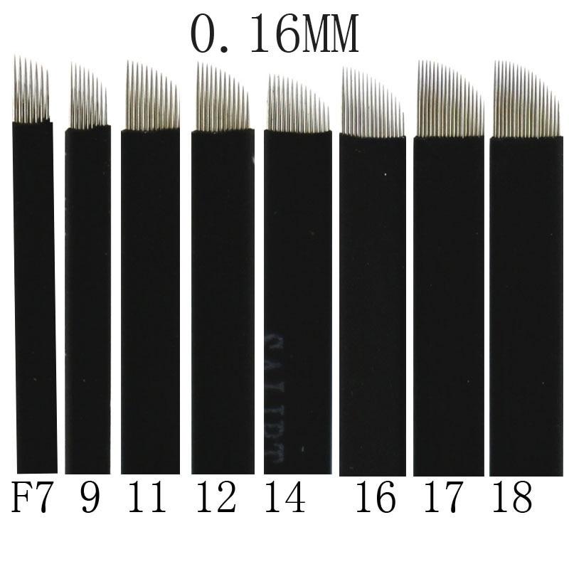 500 Pcs 0.16mm Black Microblading Blade Permanent Makeup Manual Eyebrow Tattoo Needle Pin Bevel 7/9/11/12/14/16/17/18/21 Flex