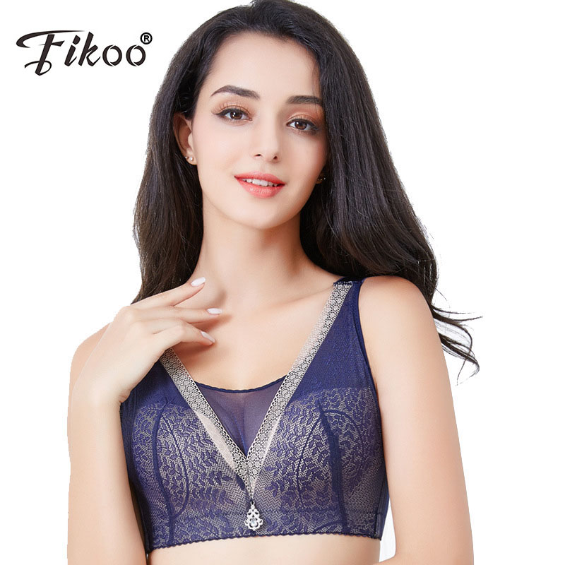 Fikoo Full Coverage Women Bras with Mesh C D Cups Brassiere for Big Size Lady 42 44 46 Intimates Female Bra Tops lingerie