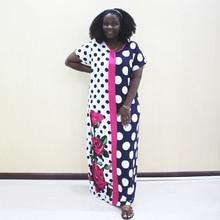דאשיקי אפריקאית שמלות לנשים מנוקדת כותנה קצר שרוול ארוך שמלה