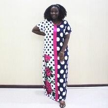 Dashiki Africano Abiti Per Le Donne Puntino di Polka Del Cotone Manica Corta Vestito Lungo
