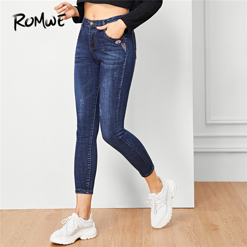 ROMWE Blue Solid Button Pocket Detail Denim Pants Women Casual Autumn Plain Skinny Jeans Female Zipper Fly Mid Waist Trousers