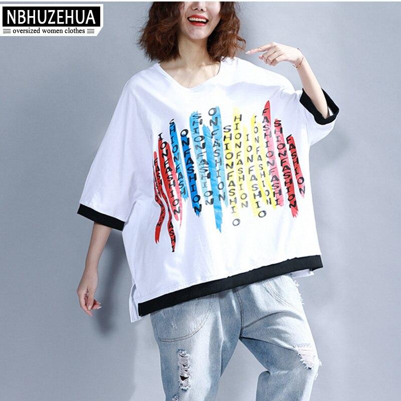 1f0fca3ff1 NBHUZEHUA A120 Women's Harajuku Big Size T Shirt Hip hop Style Letter Print  Tshirt Half Sleeve Cotton Gray White Tops 4XL 5XL-in T-Shirts from Women's  ...