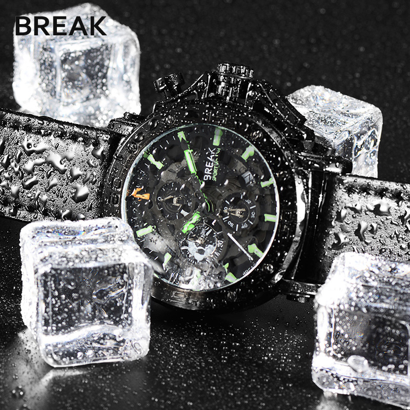 Break Funtional Military Sport Mens Watches Top Brand Luxury Leather Quartz Watch Casual Clock Men Wristwatch Relogio Masculino new mens watches top brand naviforce luxury men quartz watch casual sport military watches male leather clock relogio masculino