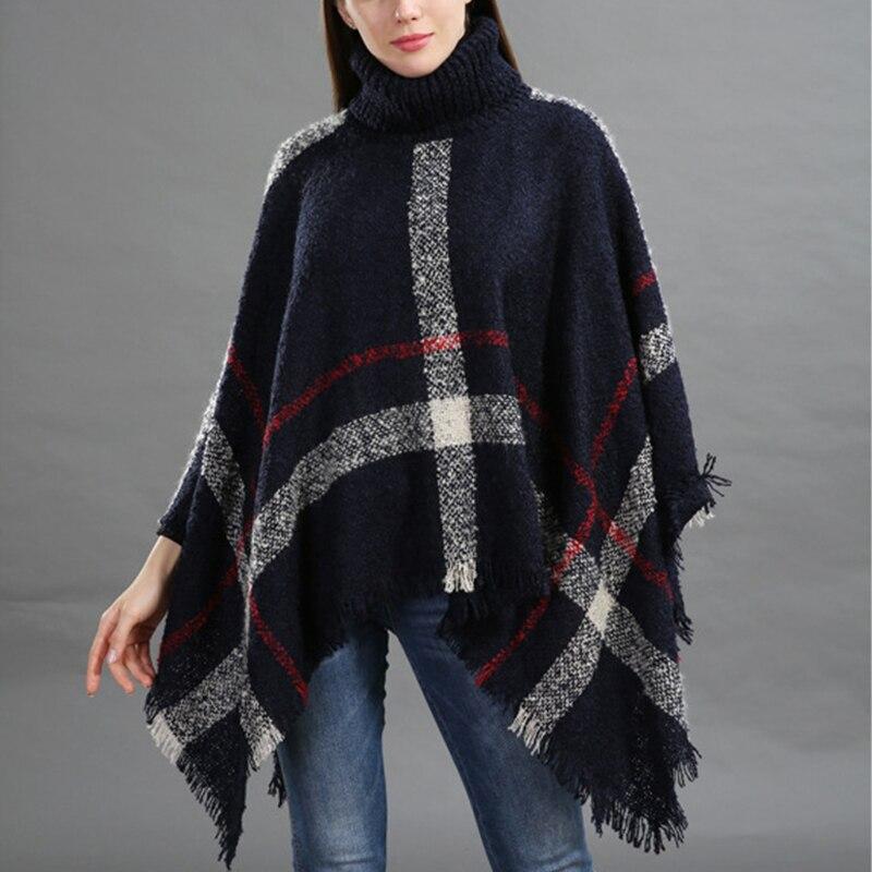 Nave de la gota 2018 más tamaño de las mujeres de lana a cuadros Cardigan cuello alto manga del Batwing Poncho suéter mujeres