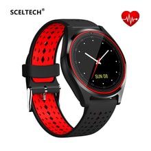 Купить с кэшбэком SCELTECH Smart Watch V9 Men Women Watch Heart Rate Monitor TF SIM Card Bluetooth Camera Sport Watch for Android HUAWEI IPHONE