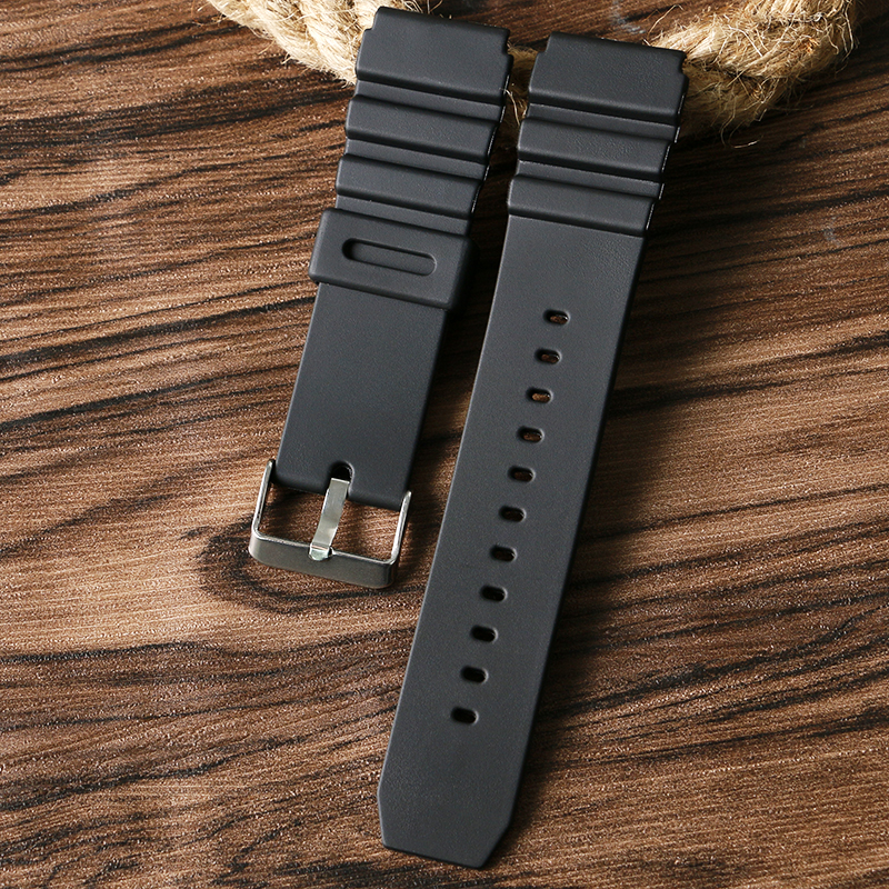 Top18/20/22mm Replacement Waterproof Black Silicone Rubber Men Wristwatch Band Strap Stylish Pin Buckle black blue gray red 18mm 20mm 22mm waterproof silicone watchband replacement sport ourdoor with pin buckle diving rubber strap