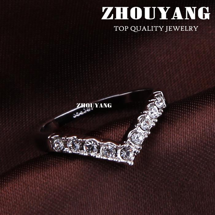 Top Quality ZYR012 V Lover Hot Sell Elegant Silver Color Wedding Ring Austrian Crystals Full Sizes Wholesale