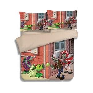 Image 4 - Novo 3d dos desenhos animados conjuntos de cama plantas vs zumbis vermelho anime impressão capa edredão cobertor fronha rainha completa rei tamanho cama se