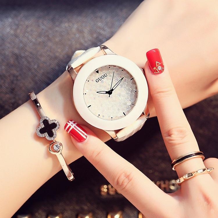 패션 GUOU 브랜드 럭셔리 다이아몬드 세라믹 쉘 여성 드레스 캐주얼 시계 진짜 가죽 전체 라인 석 다이얼 선물 드레스 시계