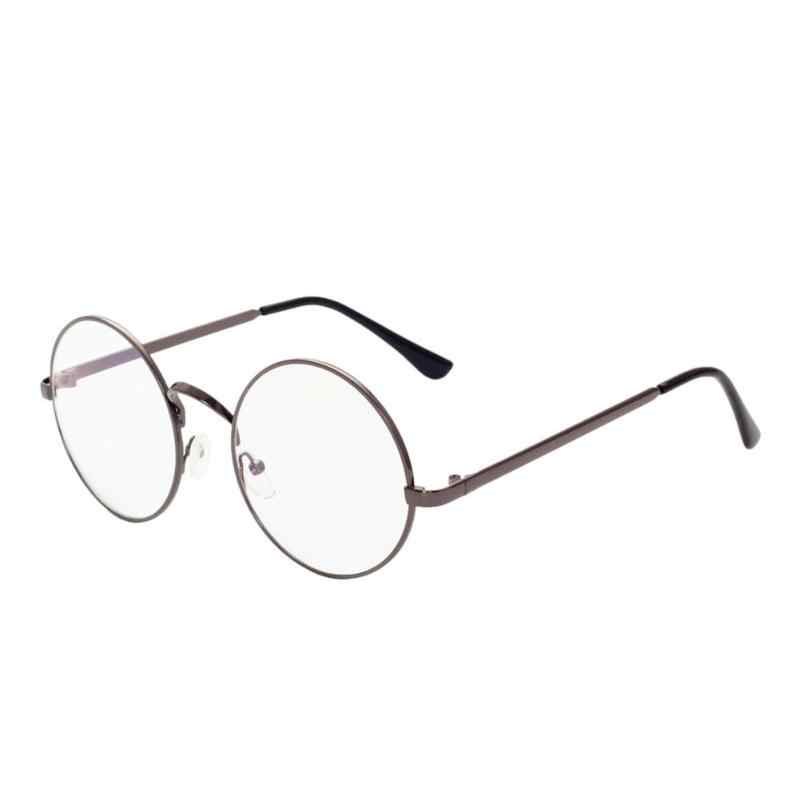2d1d866101aa ... Unisex Retro Round Glasses Spectacle Radiation Protection Stylish and Fashionable  Metal Frame Women Men Vintage Plain ...