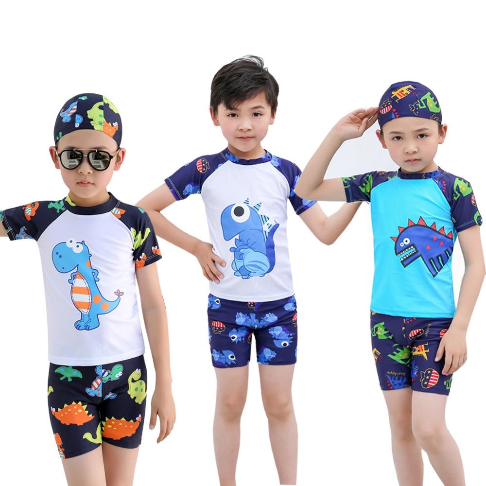Pants Kids Baby Boys Short Sleeve Dinosaur Print Tops Hat Pool Beach Swimwear Toddler Boy Swimwear Kinder Zwemkleding Summer