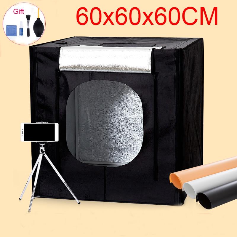60*60*60 CM Photo Studio Softbox Portátil Kit caixa de Fotografar a Luz Fotografia Lightbox Para Brinquedos Roupas Jóias com o Conjunto de Limpeza