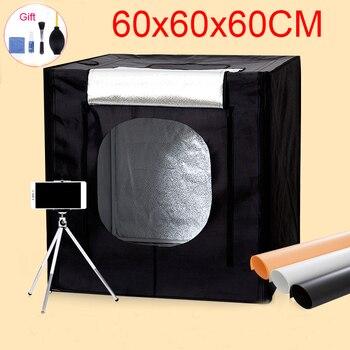 60*60*60 CM Photo Studio Portable Softbox photographie Lightbox tir boîte à lumière Kit pour jouets vêtements bijoux avec Set de nettoyage