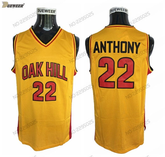 7bb52add6ec8 DUEWEER Mens  22 Carmelo Anthony Oak Hill High School Basketball Jersey  Cheap Yellow Carmelo Anthony Stitched Basketball Shirts