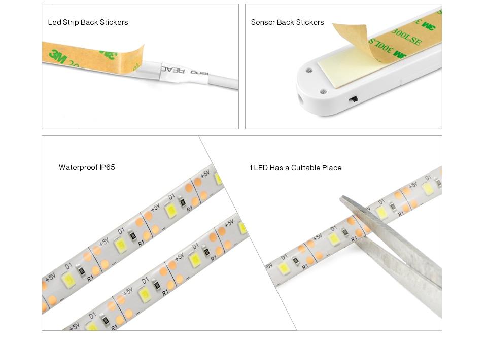 HTB1RqZRakfb uJkSndVq6yBkpXal Smart Turn ON OFF PIR Motion Sensor & USB Port LED Strip Light Flexiable adhesive lamp tape For Closet Stairs Kitchen Cabinet