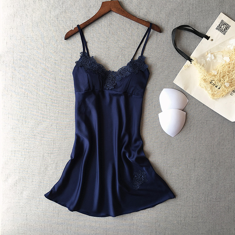 summer girls satin V collar sleepwear with bra simple design strap nightwears