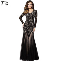 T O 2017 New European Fashion Grace Lace V Neck Full Dress Long Sleeve Ceremonial Robe