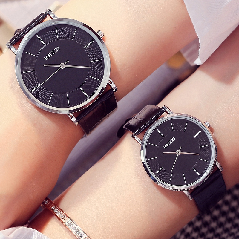 KEZZI Ultra Thin Ladies Watch Classes Simple White Men Women Leather Watches Fashion Casual Waterproof Lovers Quartz Watch 1/pcs цена и фото