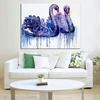 Free Shipping Oil Painting Swan Couple Paintings Wall Art on Canvas Modern Abstract Art Best Gift Pictures Home Decor