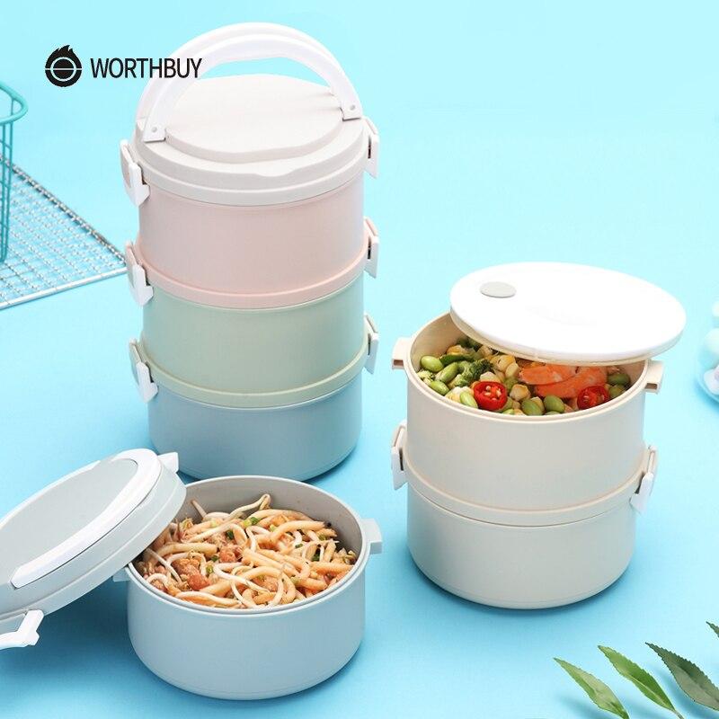 WORTHBUY microondas de plástico caja de almuerzo para los niños japoneses caja de Bento portátiles a prueba de fugas lonchera de almacenamiento de contenedores de alimentos