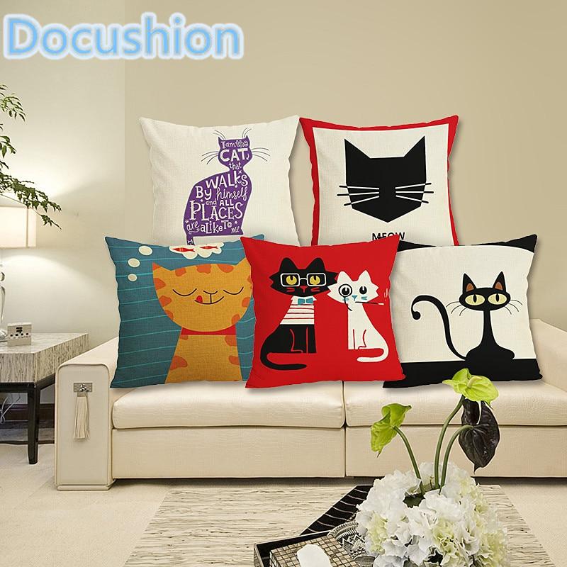 Gaya baru Kucing Sarung Bantal Dekorasi Rumah Bantal Kucing Cetak sarung bantal Bed Sofa Dekorasi Sarung Bantal Almofadas