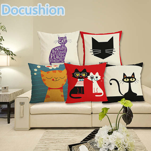 Cojines Sofa Online.New Cat Style Cushion Cover Home Decor Cushion Cat Print Pillowcase Bed Sofa Decorative Cushion Case Almofadas Cojines
