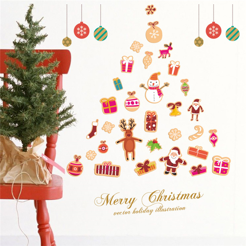 Diy Christmas Tree Bells Snowman Santa Claus Snowflake Wall Stickers Home Decoration Store Shop Window New Year Pvc Mural Decals