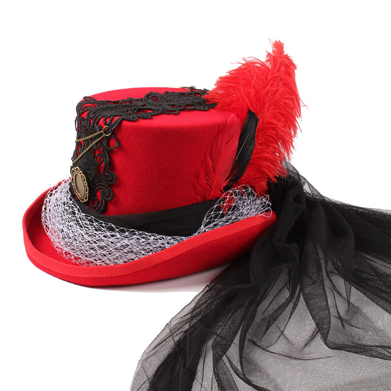 Wool Women Men Top Hat for Gentleman Lady Steampunk Fedora Hat with Floral Satin Ribbon Red