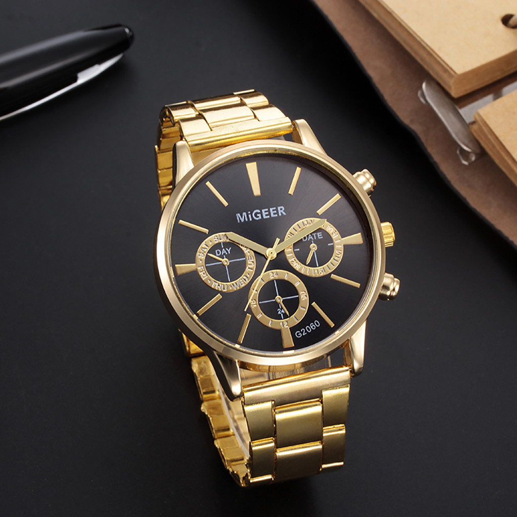 Quartz Wristwatch Clock Crystal Stainless-Steel Fashion Luxury Analog Masculino Reloj