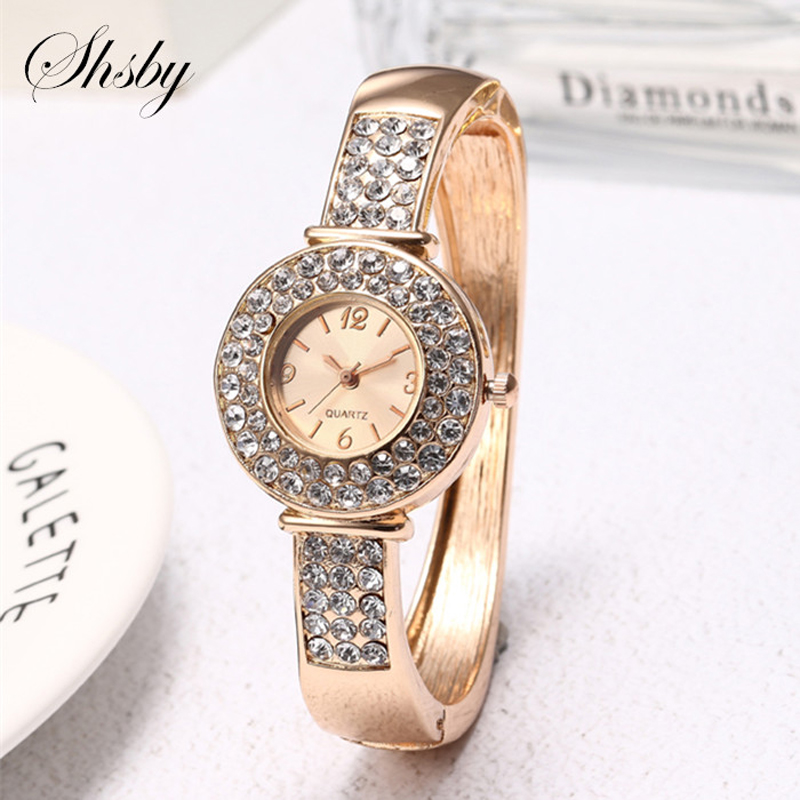 Shsby brand Gold Jewelry Watches Casual Quartz Bracelet Watch lady flower Rhinestone Clock Women Luxury Crystal Dress Wristwatch kimio top brand full rhinestone women bracelet watch 2018 silver luxury dress watches ladies crystal quartz wristwatch clock